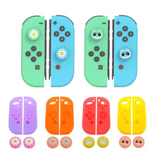 Controller handle silicone Cover thumb cap For Nintend Switch NS Joy-Con Soft Silicone Protective Skin Case + Grip Joystick Caps ivyueen 5 in 1 for nintend switch ns console handle grip protective cover with 4 thumb stick caps case for joy con controller