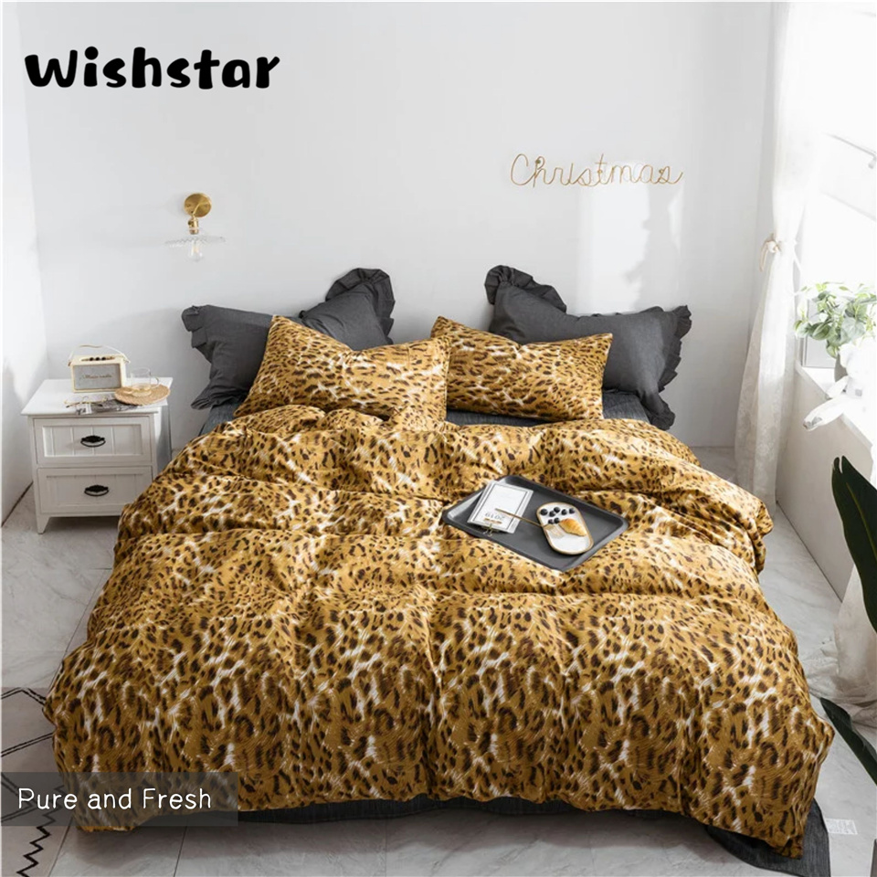 Gold Leopard Sexy Cotton Duvet Cover Set Queen King Bed Set White Print Bed Linen AB Side Bed Cover 150 Nordic Bedspread
