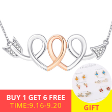 2018 new arrival 925 sterling silver love heart Cupids Arrow pendant chain necklace diy fashion jewelry making for lover gifts