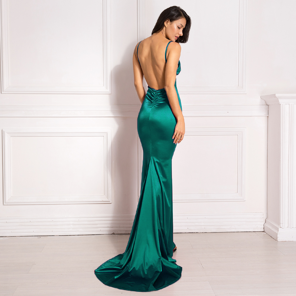Deep V-Neck Burgundy Satin Mermaid Open Back Long Evening Dress 27