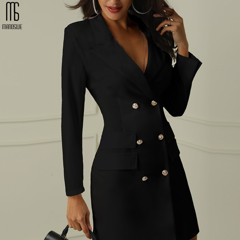 Manoswe Womens Long Sleeve Suit Blazer Double Breasted Women Long Dress Jacket Spring Elegant Sexy Office Lady Dress Womens