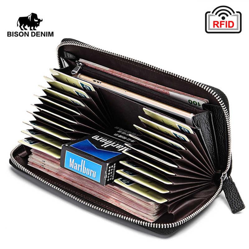 BISON DENIM 100% Kuh Leder Kupplung Brieftaschen für Männer RFID Sperrung Karte Halter Brieftasche Geldbörse Lange Telefon Brieftasche W8226