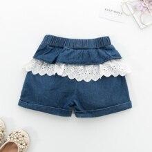 Denim Shorts Jeans Lace Hot-Pants Girls Kids Cotton Pocket Sweet