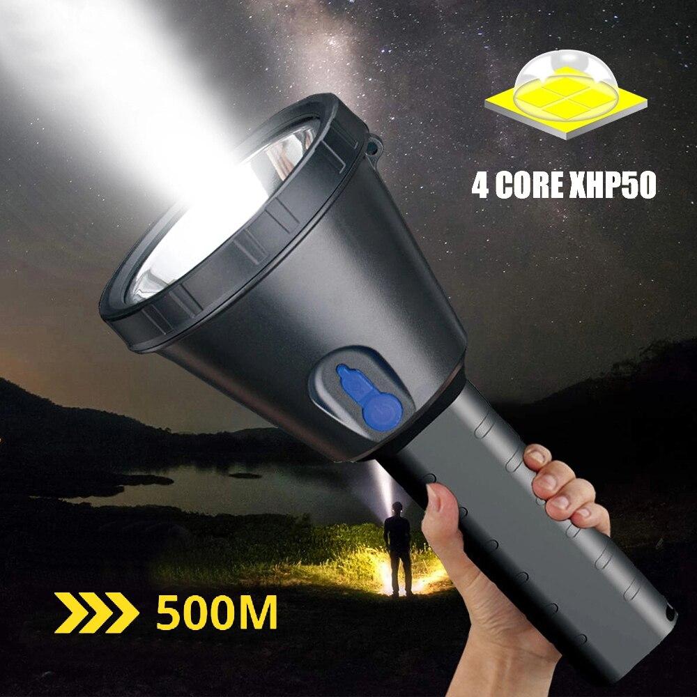 Flashlight Led Torch  6x18650 LED 4200lumens Tactic Light Xhp90 Most Power Torch Long-rang Flashlight Outdoor T6