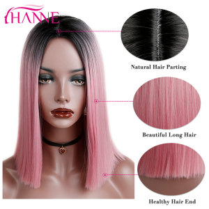 HANNE Ombre Pink/Brown/Grey Straight Shoulder Length Synthetic Wigs Heat Resistant Hair For Black/White Women Cosplay Or Party