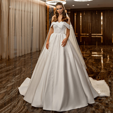 Vintage White Satin Embroidery Wedding Dress Of Shoulder Princess Ball Gown Sweetheart Bridal Dresses Lace Up 2021 New Vestido