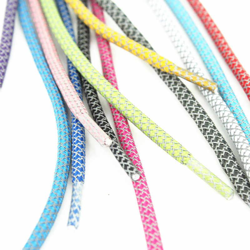 120CM płaskie odblaskowe Runner 3M okrągłe sznurowadła do butów bezpieczeństwa Luminous świecące sznurowadła Unisex dla sportu koszykówka brezentowych butów