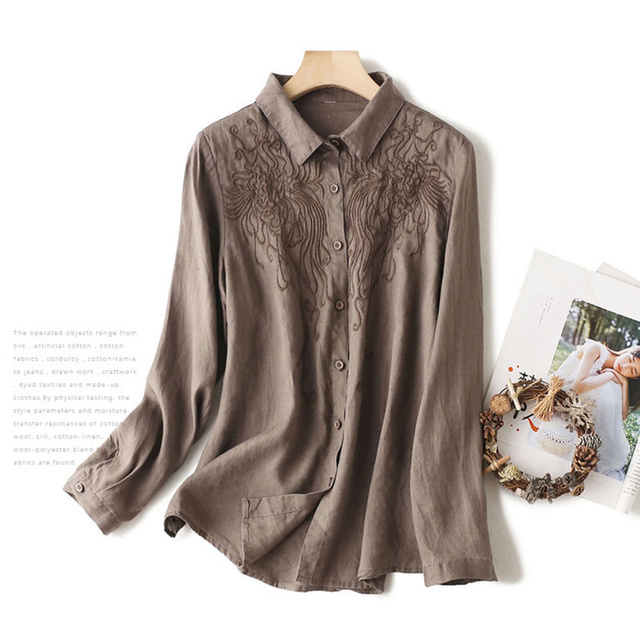 100% Cotton Women Casual Blouses Shirts New 2020 Spring Korean Style Floral Embroidery Ladies Elegant Tops Shirts Plus Size P280 3