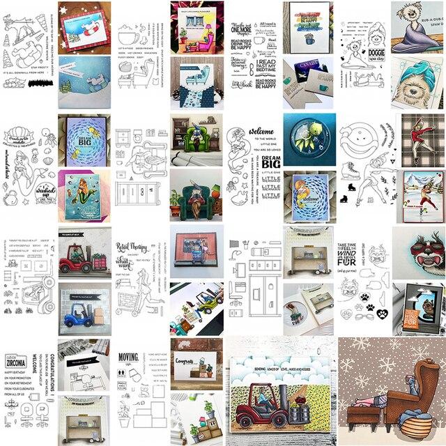 4x6 pulgadas claro sellos enérgicos chica esquí patinaje compras perrito gato oso alce animales marinos salón lámpara muebles frase 2020