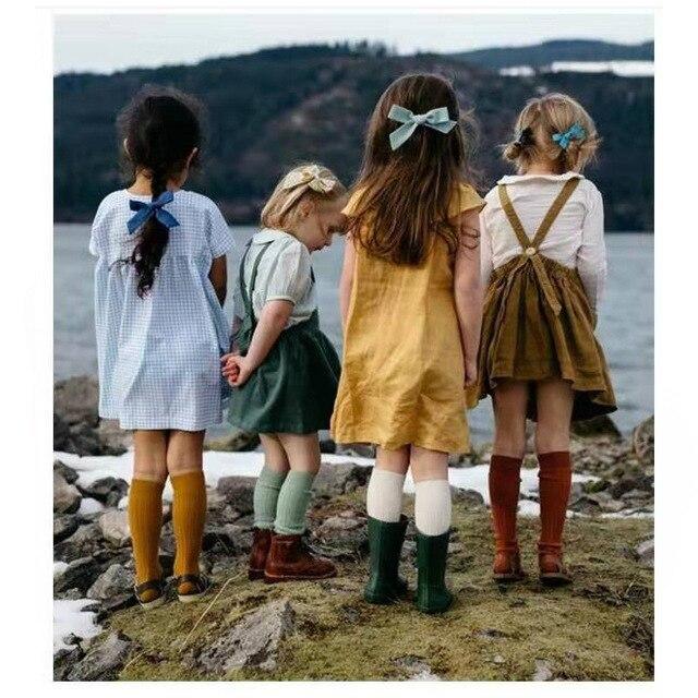 2020 nouveau Double aiguille rayures verticales plaine moyen Stock enfant chaussettes étudiants chaussettes bébé fille trucs