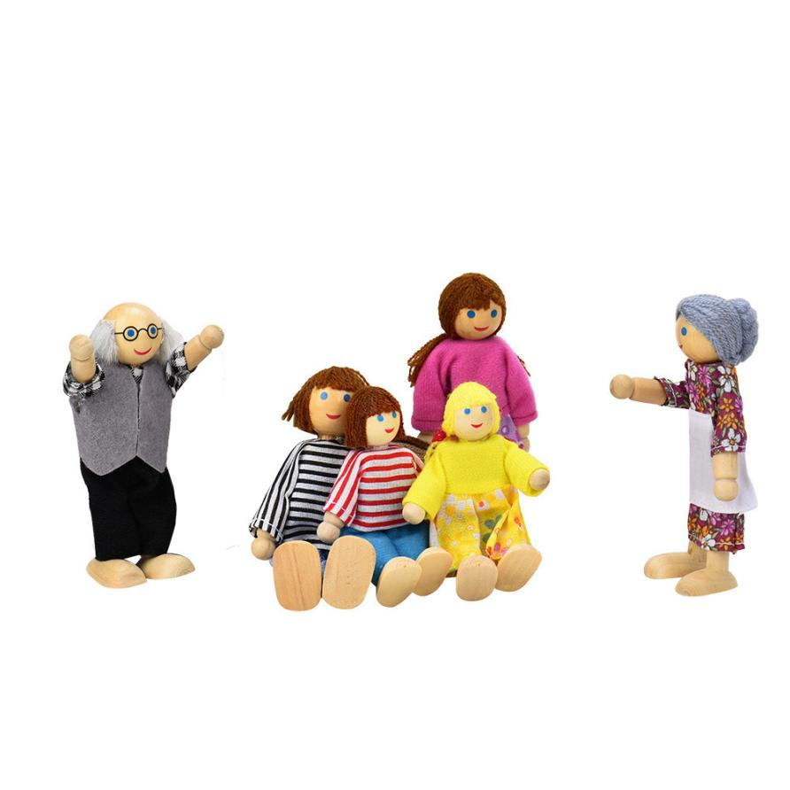 Novelty Family Dolls Funny Wooden Furnitures House Miniature Children Role play