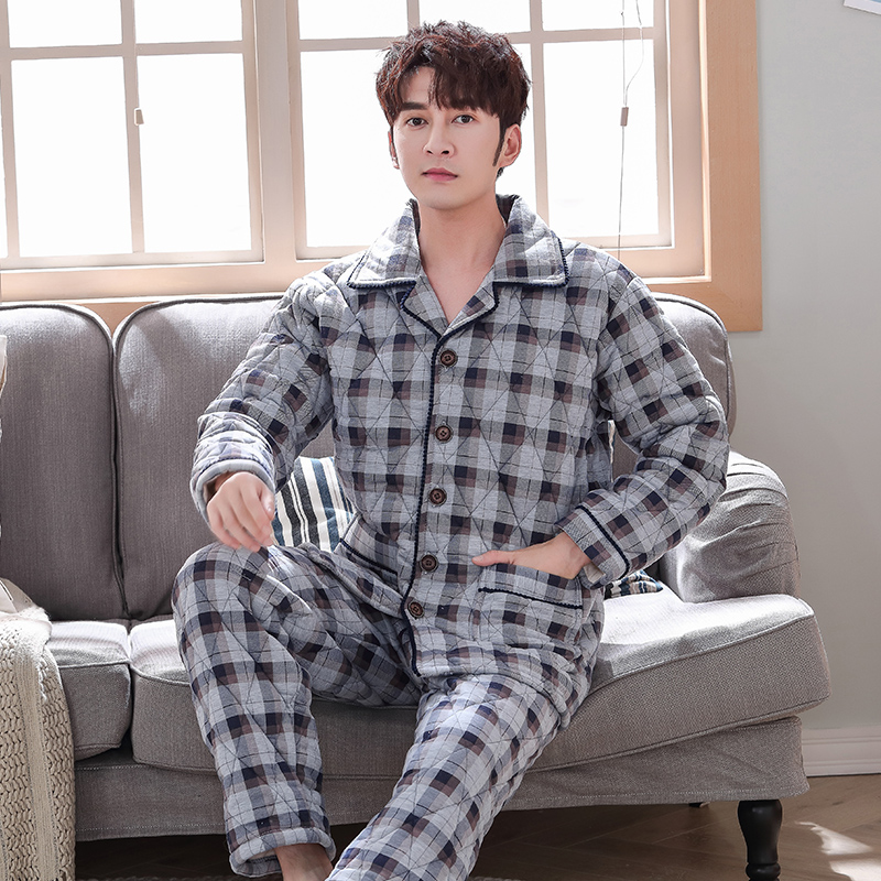 Big Yards Thick 3 Layers Warm Winter Pajamas Men Soft Cotton Quilted Long Sleeve Pijamas De Hombre Plaid Home Clothes For Male