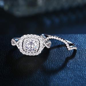 Image 2 - Newshe 2Pcs Hochzeit Ring Sets Klassische Schmuck 1,9 Ct AAA CZ Echtem 925 Sterling Silber Verlobung Ringe Für Frauen JR4844