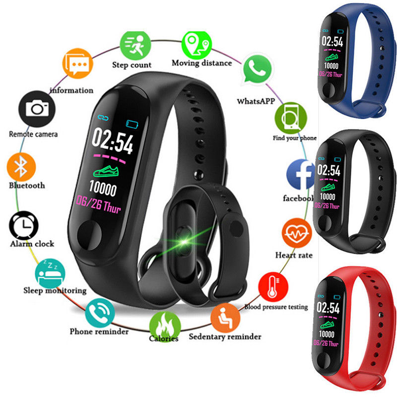 M3 Bluetooth Waterproof Digital Smart Sport Watch Women Band Bracelet Fitness Activity Heart Rate Tracker Wristband