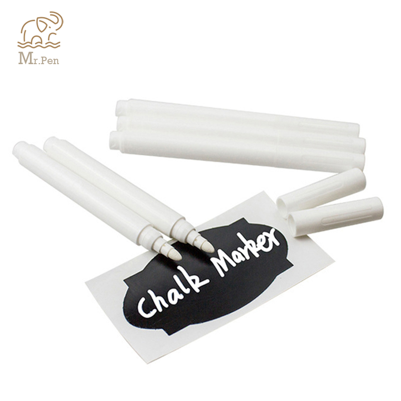 Wholesale 4/10pcs White Liquid Chalk Pens For Wall Sticker Blackboard Kitchen Jar Convenient Removable Mark Pen Stationery