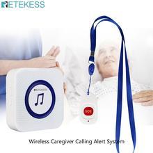Retekess Wireless Caregiver โทรการแจ้งเตือนระบบผู้สูงอายุผู้ป่วยฉุกเฉิน SOS ปุ่ม + ตัวรับสัญญาณสำหรับครัวเรือนพยาบาล