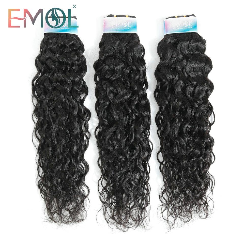 Emol Peruvian Water Wave Bundles 1/3/4 Pcs Human Hair Extension 1B Color Hair Bundle Non-Remy Human Hair Weave