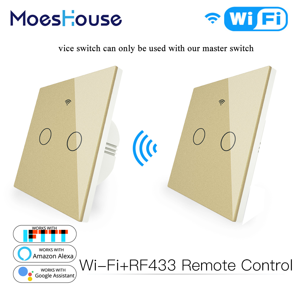 WiFi RF433 Transmitter Wall Panel Smart Glass Panel Touch Switch 1/2/3 Gang Remote Control Switch Works With Alexa, Google Home