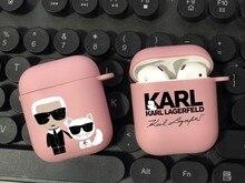 Marca de moda designer karls tpu silicone bluetooth airpod caso para airpods 2 airpods1 pro 3 macio fosco rosa capa