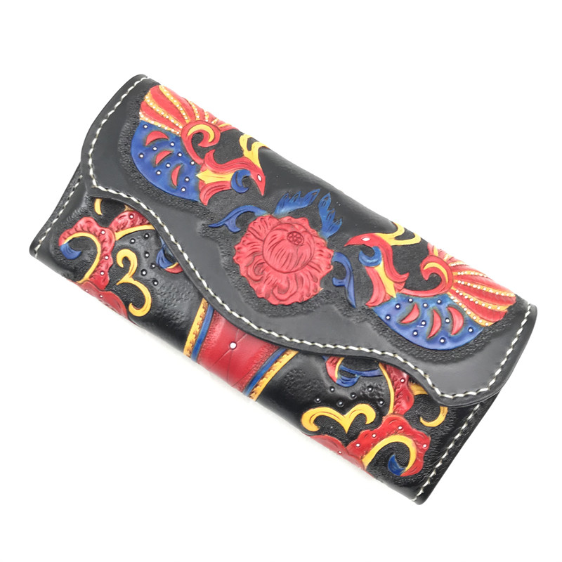 Handcraft Genuine Cow Leather Female Long Engraved Wallet Women Large Clutch Bag Card Holders Red Peacock Lady Rhinestone Purse