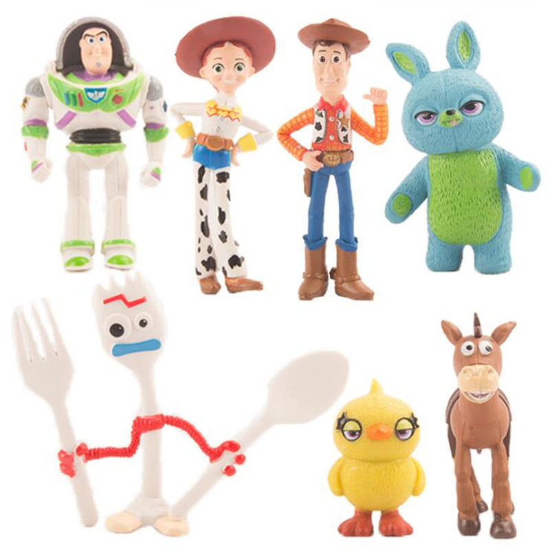 7 Pcs/Set Toy Story 4 Bunny Woody Buzz Lightyear Jessie Forky Action Figure Model Doll Kids Toys Children Gifts