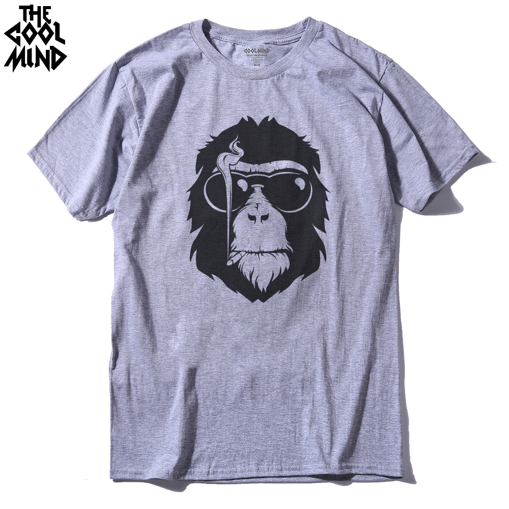 THE COOLMIND Short Sleeve Monkey Printed Men Tshirt Cool Men'S Tee Shirts Tops Men T-Shirt 2016 100% Cotton Casual Mens T Shirts