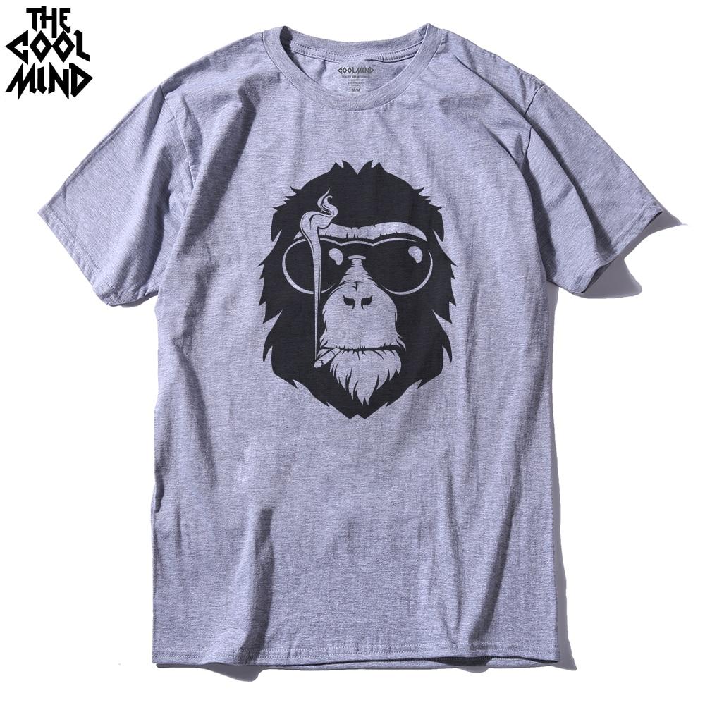 THE COOLMIND Short Sleeve Monkey Printed Men Tshirt Cool Men'S Tee Shirts Tops Men T-Shirt 2016 100% Cotton Casual Mens T Shirts
