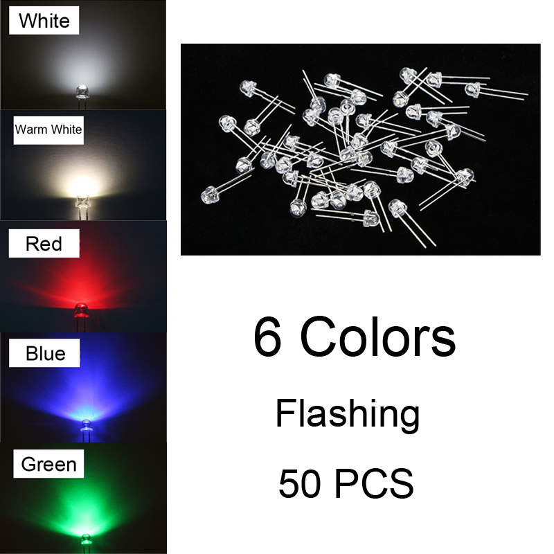 10Pcs 5mm Pre-Wired DC 9-12v RGB Fast Flash Flat Top Wide Angle LED Light Diodes