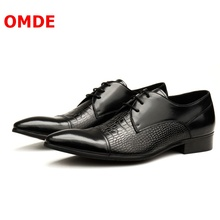 OMDE Genuine Leather Pointed Toe Mens Derby Shoes Handmade Men Dress Shoes Lace-up Business Shoes Formal Oxford Shoes For Men new 2017 men s genuine leather shoes round toe lacing wedding dress formal business derby shoes 2colors eu38 44 handmade