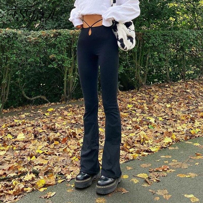 FSDA siyah sonbahar kış uzun pantolon kadın 2021 rahat yüksek bel Cut Harajuku düğmeleri tasarım bandaj pantolon Y2K moda