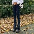 FSDA Schwarz Herbst Winter Lange Hosen Frauen 2021 Casual Hohe Taille Cut Out Harajuku Buttoms Design Bandage Hosen Y2K Mode