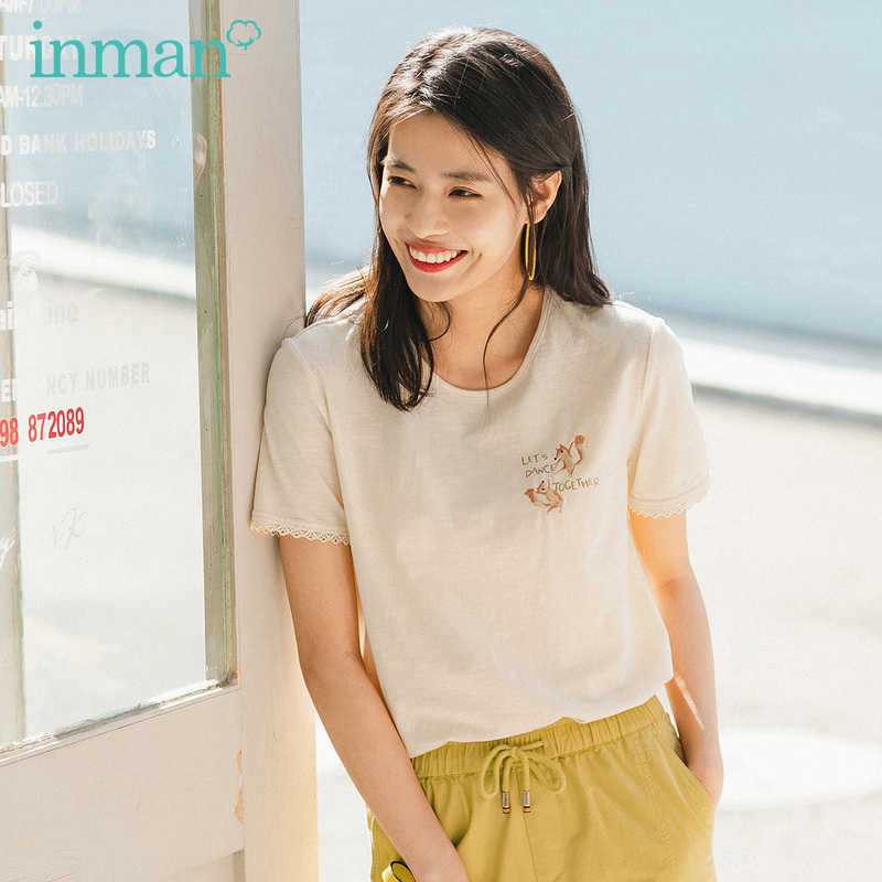 INMAN 2020 Summer New Arriavl Round Collar Leisure Lace Fox Embroidered Slimmed Short Sleeve T-shirt