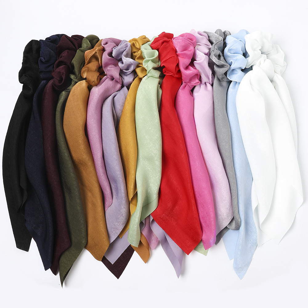 Hairband Ribbon Long Satin  Rubber Bands For Hair Elastic Band Korean Silk Scrunchie Headwear Hairbands Womens Hair Accessories