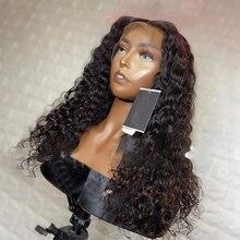 を生意気なカーリーレースフロントウィッグ人毛ウィッグ黒人女性 150% レミーブラジルグルーレス完全なエンドナチュラルヘアライン摘み取ら漂白