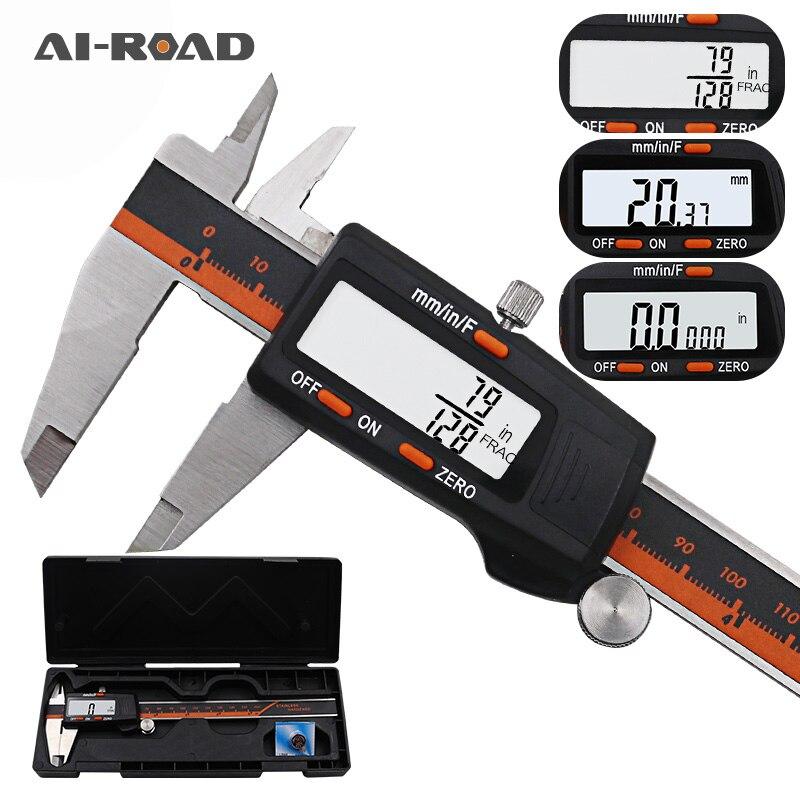 Paquímetro de aço inoxidável display digital, 150mm fração/mm/Polegada de alta precisão, aço inoxidável, lcd, vernier, paquímetro
