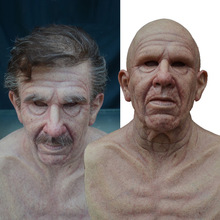 Adult Old Man Mask Halloween Creepy Wrinkle Face Mask Cosplay Costume Mask Realistic Latex Masquerade Carnival Mask