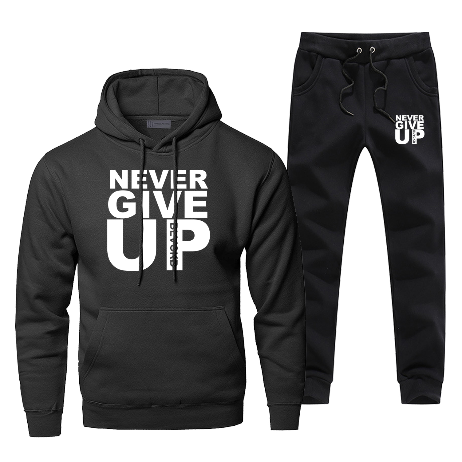 Men Hoodies Sets Two Piece Pant Never Give Up Mens Hoodies Sweatshirt Blackb Sweatpants Streetwear Sportswear Male Sweatshirts