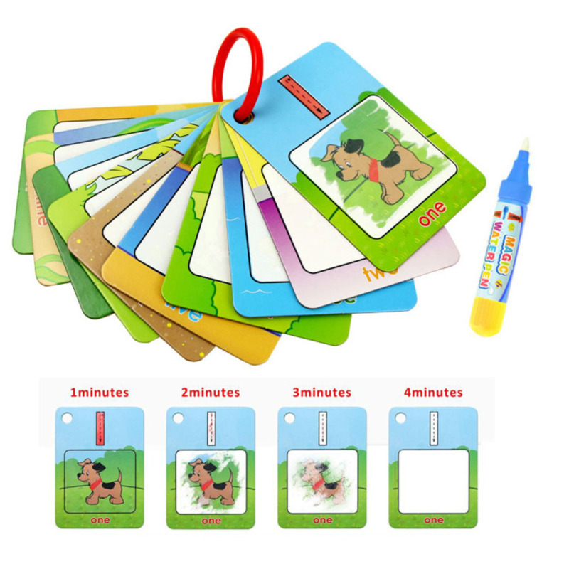 Magic Reusable Water Drawing Book Number/Color/Shape Recognize Early Educational Toys For Children Painting Drawing Board Gift