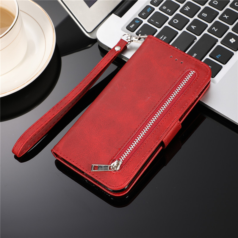 H98bcda3ea8824181ba20db9d4ee12c52n Leather Zipper 8plus Flip Wallet Case For iPhone 11 Pro X XS MAX XR 6 6s 7 8 Plus Card Holder Stand Phone Cover Coque Etui Mujer