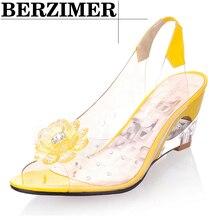 BERZIMER Hot Sale Fashion Women Summer Sandals Shiny Crystal Strange Wedges Heel