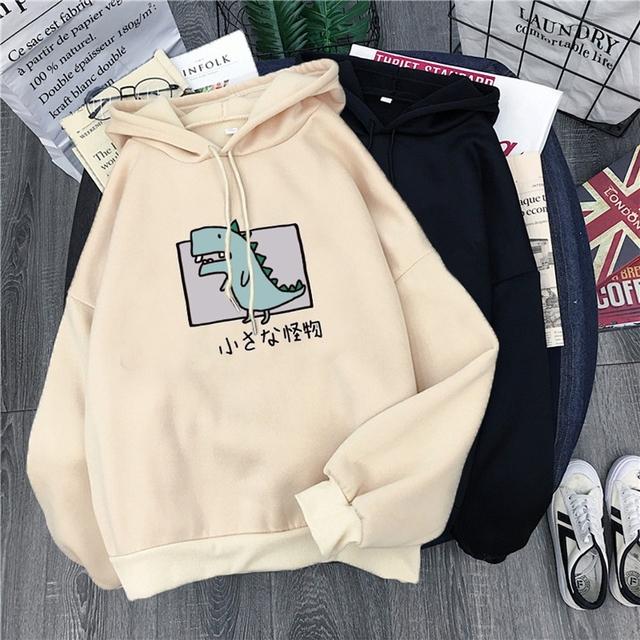 Cartoon Dinosaur Print Loose Hooded Sweatshirt