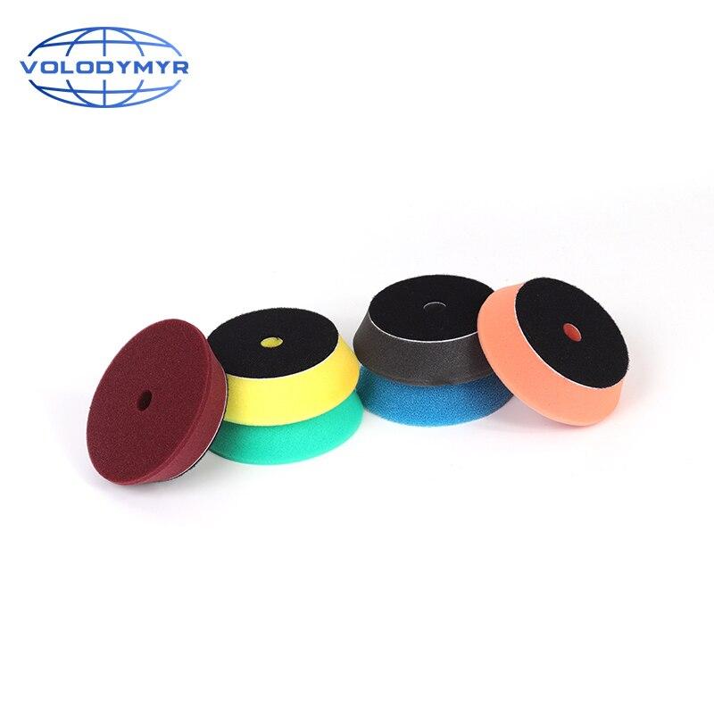 Volodymyr almofada de polimento esponja almofadas buffer 4 Polegada espuma polidor disco kit com 3 Polegada gancho e loop para da/ro/ga carro polidor
