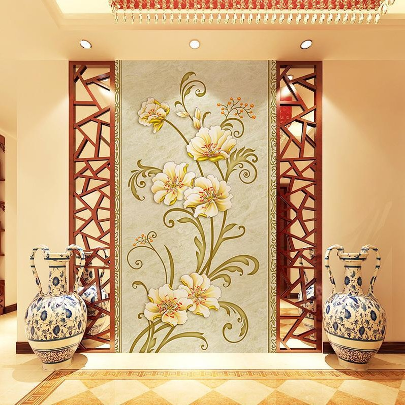 3D Chinese Style And Rich Corridor Hallway Entrance Mural Seamless Non-woven Wallpaper Living Room Bedroom Wallpaper
