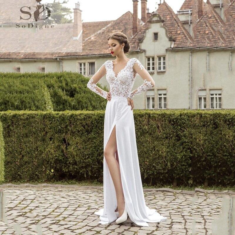 SoDigne Long Sleeves Wedding Dress 2019 Beach Bridal Dress Chiffon Lace Appliques White/Ivory Romantic Boho Wedding Gowns