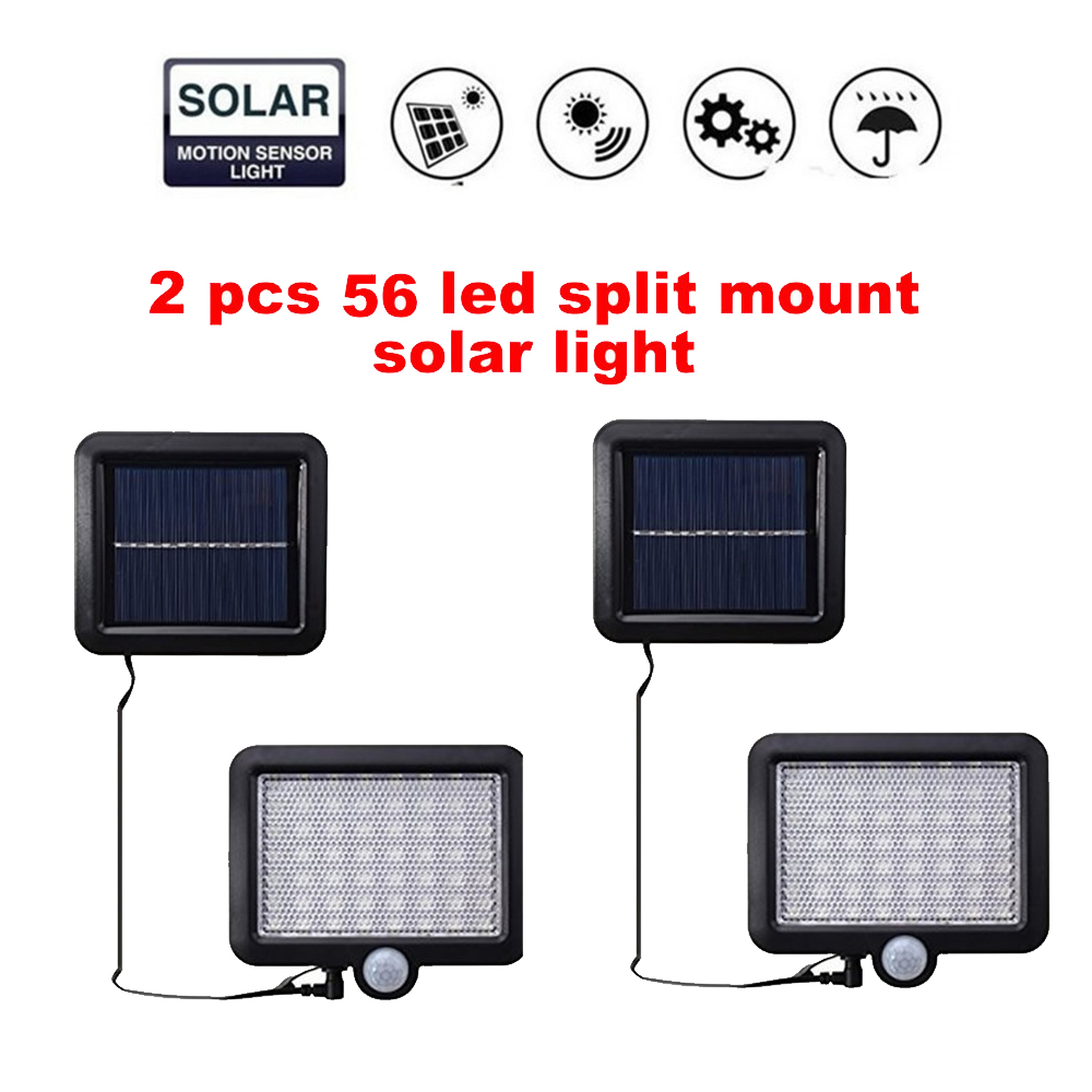 2/4pcs LED Motion Sensor Wall Light Waterproof 100/56/30 LED Wall Light Solar Powered LED PIR Sensor Lamp For Walkway Fence Gard