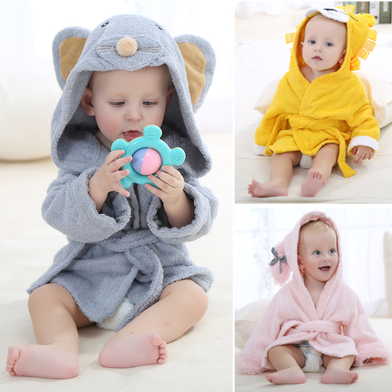 Hot Selling CHILDREN'S Bathrobes Hooded Pure Cotton Cute Animal Modeling Baby Bath Towel Mantle
