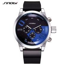 Orologio sportivo da uomo caldo SINOBI impermeabile blu quadrante grande uomo cronografo in acciaio pieno orologi da polso al quarzo da corsa Relogio Masculino