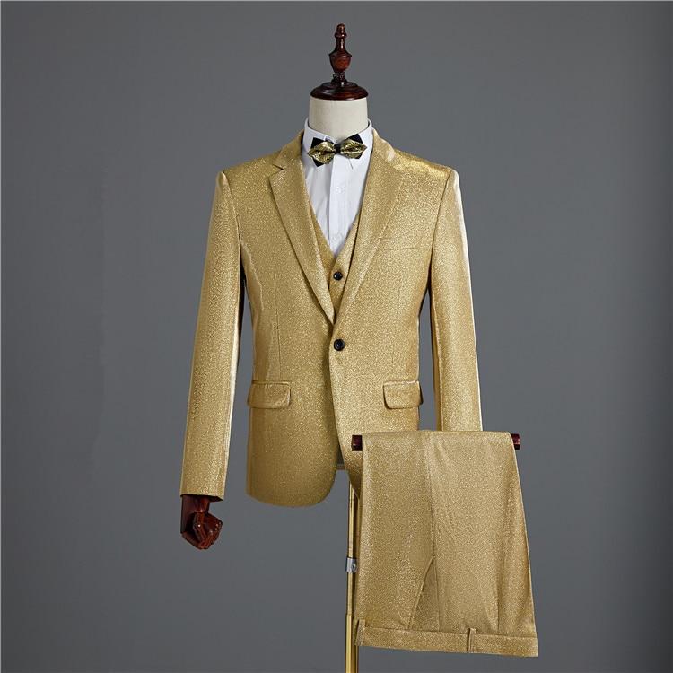 Яркий провод блейзеры формальные мужские костюмы (куртка + жилет + брюки) Модный свадебный костюм жениха из 3 предметов