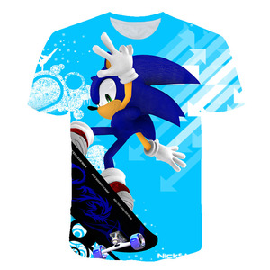 3D printing sonic hedgehog T-shirt summer new fashion parent-child jacket summer short-sleeved casual children cartoon shirt
