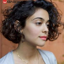 Wignee Lace Part Short Curly Human Hair Wigs For Black Women